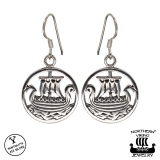Northern Viking Jewelry® Hopeiset Viikinkilaiva Korvakorut