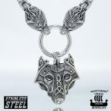 """Northern Viking Jewelry®-Kaulakoru """"Clasp Byzantine Sudenpäillä + Guardian Wolf"""