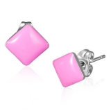 Stainless Steel 2-tone Pink Square Stud Earrings