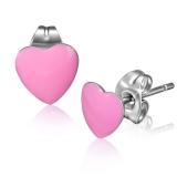 Stainless Steel 2-tone Pink Love Heart Stud Earrings