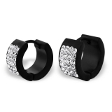 "Kirurginteräs korvakoru ""Round Black Huggie Earrings with Crystal"""