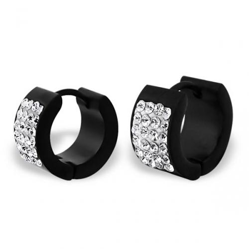 """Kirurginteräs korvakoru """"Round Black Huggie Earrings with Crystal"""""""