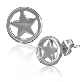 Stainless Steel Cut-out Star Circle Stud Earrings