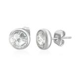 """8mm Stainless Steel Bezel-Set Stud Earrings """"Clear"""""""