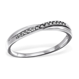 "Hopeasormus Zirkoneilla ""Silver Intertwining Ring with Cubic Zirconia"""