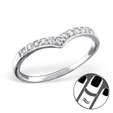 "Hopeinen Midi-Sormus ""Silver Heart Midi Ring with Cubic Zirconia"""