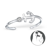 "Hopeinen Säädettävä Varvassormus ""Silver Anchor Toe Ring with Crystal"""