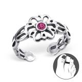 """Hopeinen Säädettävä Varvassormus """"Silver Flower Toe Ring with Pink Crystal"""""""