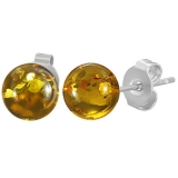 "316L Kirurginteräs ""6mm Stainless Steel Ball Synthetic Amber Stones Stud Earrings"""