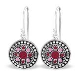 """Hopeiset korvakorut """"Aztec Plain Round Pink/Dark Red Heart Earrings"""""""