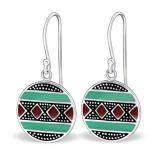 """Hopeiset korvakorut """"Aztec Plain Silver Round Earrings"""""""