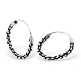 Silver Bali hoop earrings