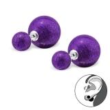 """Hopeiset Glitter BB-korvakorut """"Purple"""""""