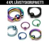 """Lävistyskorupaketti """"4 kpl Erivärisiä Bcr-renkaita 1,6 mm"""""""