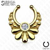 Kirurginteräsl Fake Septum Tribal Flower with Crystal Center