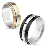 "Kirurginteräs Sormus ""Let's Bless Our Love' Engraved Two Tone IP Stainless Steel Ring"""