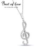Beat of Love hopeakaulakoru nuottiavain zirkoneilla (BOL-N0732Z/40-45cm)