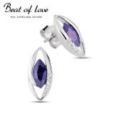 Beat of Love hopeakorvakorut ametistin värisellä zirkonilla (BOL-E1075Zamet)