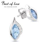 Beat of Love hopeakorvakorut vaaleansinisellä zirkonilla (BOL-E1080Zaqua)