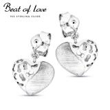 Beat of Love sydän hopeakorvakorut (BOL-E1820)