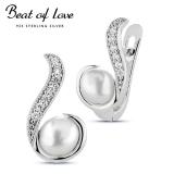 Beat of Love hopeakorvakorut zirkoneilla ja makeanveden helmillä (BOL-E5013ZP)