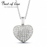Beat of Love hopeakaulakoru sydän täynnä zirkoneita (BOL-N0107Z/40-45cm)