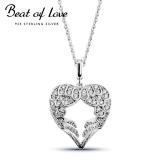 Beat of Love hopeakaulakoru sydän siivet zirkoneilla (BOL-N0860Z/40-45cm)