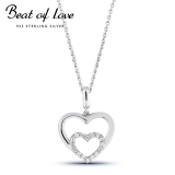 Beat of Love hopeakaulakoru tuplasydän zirkoneilla (BOL-N0983Z/40-45cm)