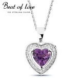 Beat of Love sydänkaulakoru ametistilla (BOL-N1088AZ/40-45cm)