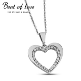 Beat of Love hopeakaulakoru sydän zirkoneilla (BOL-N1174Z/40-45cm)