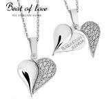 """Beat of Love """"Rakastan sinua"""" teksti sydänkaulakoru zirkoneilla (BOL-N1484Z/40-45cm)"""