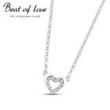 Beat of Love hopeakaulakoru sydän zirkoneilla (BOL-N3078Z-40-45cm)