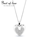 Beat of Love hopeakaulakoru sydän zirkoneilla (BOL-N3162Z/40-45cm)