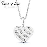 Beat of Love hopeakaulakoru sydän zirkoneilla (BOL-N5059Z/40-45cm)