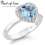 """Beat of Love sydän """"halo"""" hopeasormus topaasilla ja zirkoneilla (BOL-R0845ZT)"""