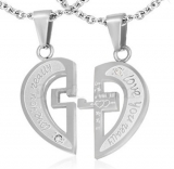 "316L Teräsriipus ""2-Part Affirmation-Love Heart Cross Couple Pendant w/ Clear CZ"" + Ketju"
