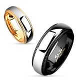 "Kirurginteräs Sormus ""Milled Edge Two Tone IP Stainless Steel Couple Ring"""