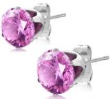 """Kirurginteräs korvakorut """"8 mm CZ Pink Round Circle Stud Earrings"""""""