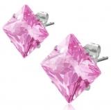 """Kirurginteräs korvakorut """"8 mm CZ Pink Square Stud Earrings"""""""