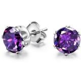 """Kirurginteräs korvakorut """"6 mm CZ Purple Round Circle Stud Earrings"""""""