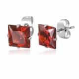 "Kirurginteräs korvakorut ""8 mm CZ Red Square Stud Earrings"""