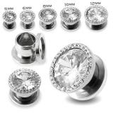 """316L Kirurginteräs Plug """"AAA Stone Multi Jeweled"""""""