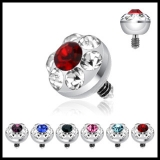 4mm Multi Gem Ferido Dermal Top 316L Surgical Steel Internally Threaded