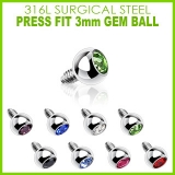 3mm Gem for Internally Threaded Dermal Anchors 316L Surgical Steel