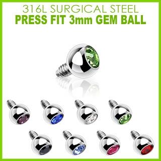 3mm Gem for Internally Threaded Dermal Anchors 316L Surgical Steel