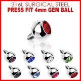 4mm Gem for Internally Threaded Dermal Anchors 316L Surgical Steel