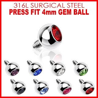 4mm Gem for Internally Threaded Dermal Anchors 316L Surgical Steel