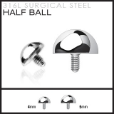 """Half Ball"" for Internally Threaded Dermal Anchor 316L Surgical Steel"