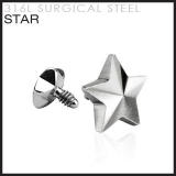 Star for Internally Threaded Dermal Anchors 316L Surgical Steel