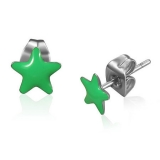 Stainless Steel Green Shining Star Stud Earrings
